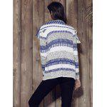 Stylish Long Sleeve Knitted Irregular Loose-Fitting Women's Cardigan - GREY AND WHITE AND BLUE