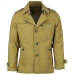 Turn-Down Collar Epaulet Single Breasted Long Sleeve Men's Trench Coat - DARK KHAKI