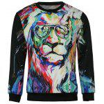 Round Neck 3D Lion Oil Painting Print Long Sleeve Slimming Men's Sweatshirt - COLORMIX
