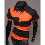 T-shirt Polo Simple Contrastant à Manches Courtes Pour Homme - ORANGE