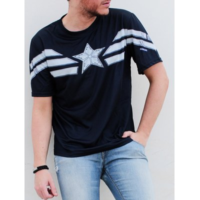 Fashion Round Neck Slimming Color Block Short Sleeve Polyester T-Shirt For Men
