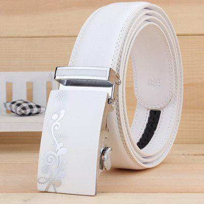 Stylish Tendrils Polka Dot Alloy Rectangle Buckle White Wide Belt For Men