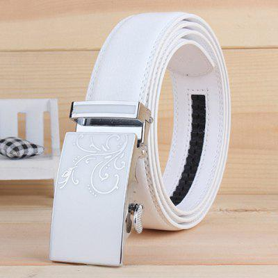 Stylish Tendrils Alloy Rectangle Buckle White Wide Belt For Men