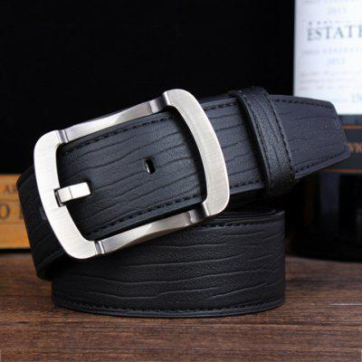 Stylish Alloy Pin Buckle Solid Color Wide Belt For Men