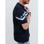 Fashion Round Neck Slimming Color Block Short Sleeve Polyester T-Shirt For Men - DEEP BLUE
