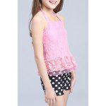 Sweet Halter Lace Spliced Flounced Top + Polka Dot Boxers Girl's Two-Piece Swimsuit - ROSE PÂLE