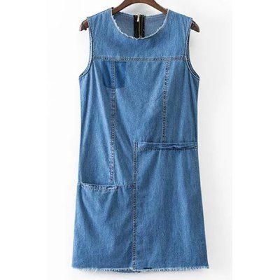 Round Neck Sleeveless Solid Color Pocket Denim Dress