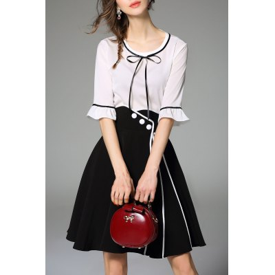 Bell Sleeve Blouse and Skirt Twinset