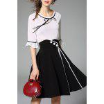 cheap Bell Bottom Sleeve Blouse and Slit Skirt Twinset