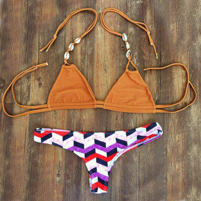Stylish Shell Embellished Halter Neck Checked Women's Bikini Set