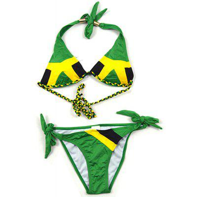 Stylish Flag Print Woven Strap Embellished Halter Bikini For Women