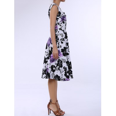 Retro Style Square Neck Sleeveless Flower Pattern Dress For Women