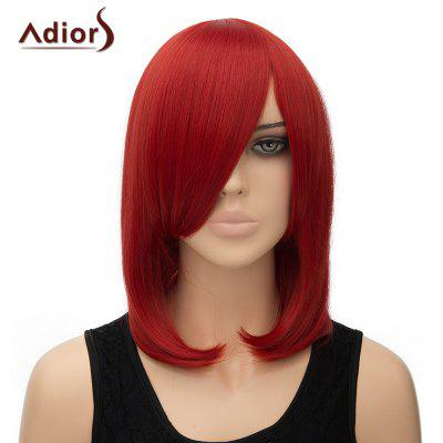 Fashion Inclined Bang Straight High Temperature Fiber Adiors Women's Cosplay Wig
