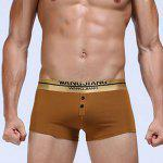 Golden Button Embellished U Pouch Design Boxer Brief For Men - EARTHY