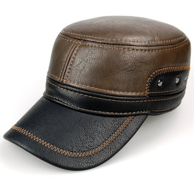 Stylish Sewing Thread and Stud Embellished PU Military Hat For Men