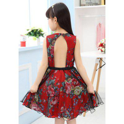 Vintage Round Neck Flower Print Hollow Out Girl's A-Line Dress
