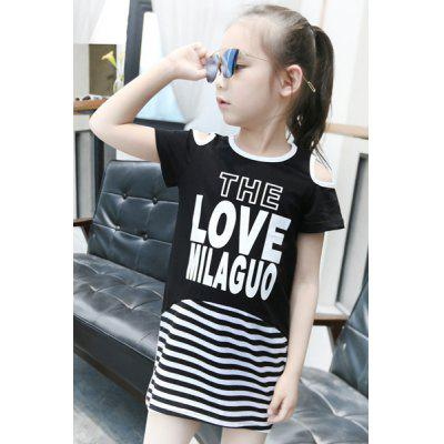 Sweet Round Neck Short Sleeve Letter Pattern Striped Girl's Dress