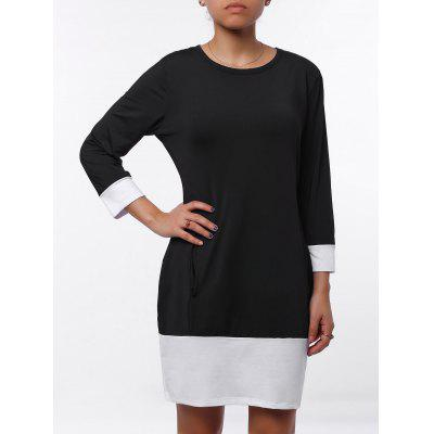 Buy BLACK Casual Scoop Neck Color Block Long Sleeve Mini Dress For Women for $11.79 in GearBest store