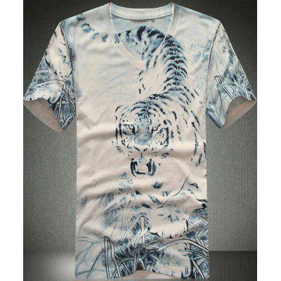 Slim Fit V-Neck Tiger Printed Short Sleeves T-Shirt For Men