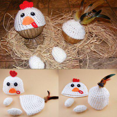 Set of Fashion Chickabiddy Knitting Props Clothes Hat Tail Embellished For Baby's Photography