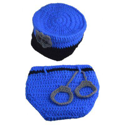 Set of Fashion Policeman Style Knitting Props Clothes Hat For Baby's Photography
