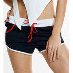 cheap Active Style Elastic Waist Patchwork Sport Shorts For Women