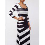 Maxi Scoop Neck Striped Evening Dress - SIYAH