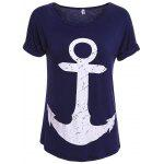 Cuffed Sleeve Anchor Print Tee - CADETBLUE