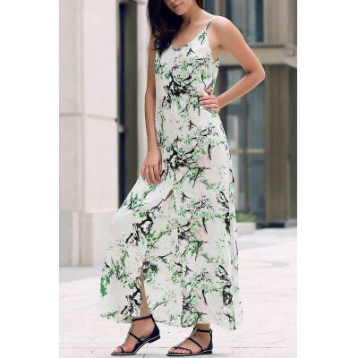 Elegant Printed Front Slit Women's Maxi Strap Dress