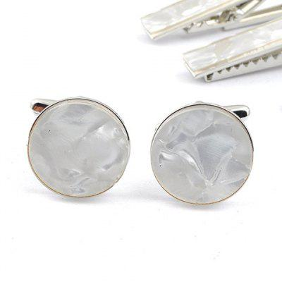 Pair of Stylish Cracked Rectangle Embellished White Cufflinks For Men