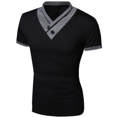 Buy Turn-Down Collar Color Block Spliced Button Embellished Short Sleeve Men's T-Shirt, BLACK, M, Apparel, Men's Clothing, Men's T-shirts, Men's Short Sleeve Tees for $9.72 in GearBest store