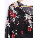 Sexy Plunging Neck Long Sleeve Floral Print Blouse For Women deal