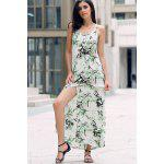 cheap Elegant Printed Front Slit Women's Maxi Strap Dress