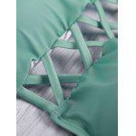 Buy Lace Criss Cross Halter Bathing Suits L GREEN