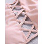 Buy Lace Criss Cross Halter Bathing Suits M PINK