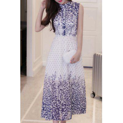 Sweet Buttoned Stand Collar Grass Print Women's Dress