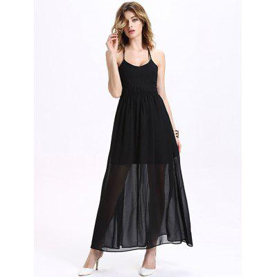 Maxi Criss Cross Chiffon Halter Long Prom Dress