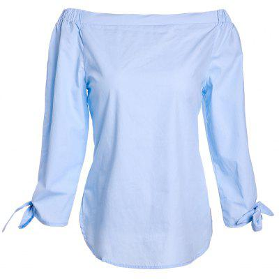Chic Women's Pure Color Slash Neck 3/4 Sleeve Blouse