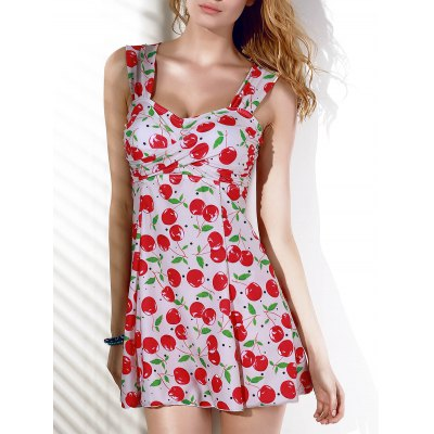 Fashionable Cherry Print Slimming Two-Piece Women's Swimsuit