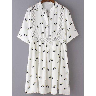 Cute Stand Neck 3/4 Sleeve Cherry Print Dress For Women