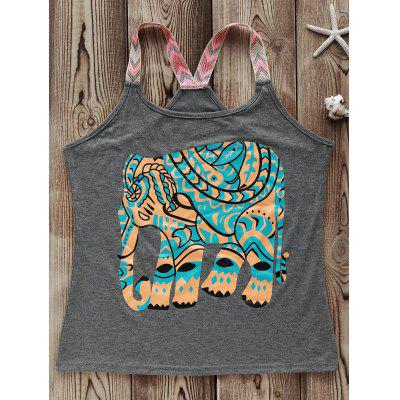 Elephant Print Graphic Tank Top