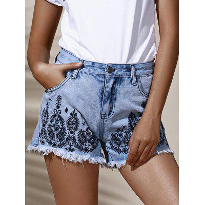 Stylish High Waist Floral Embroidered Frayed Denim Shorts For Women