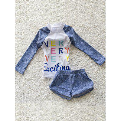 Girl's Letter Print Long Sleeve T-Shirt + Boxers Two-Piece Swimsuit
