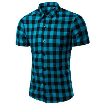 Turn-Down Collar Checked Pattern Short Sleeve Shirt For Men