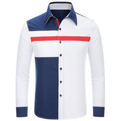 Buy Fashion Shirt Collar Slimming Irregular Three Color Splicing Long Sleeve Polyester Shirt For Men WHITE L for $14.26 in GearBest store
