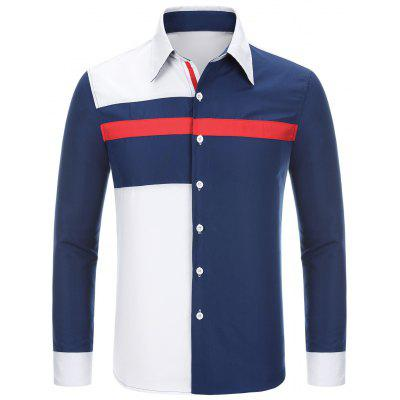 Fashion Shirt Collar Slimming Irregular Three Color Splicing Long Sleeve Polyester Shirt For Men