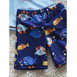 Stylish Long Sleeve Cartoon Fish Print Sun-Resistant Boy's Swimsuit - DEEP BLUE