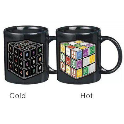 Novelty Office Tea Coffee Cup Rubik s Cube Pattern Color Changing Ceramic Mug 180281201