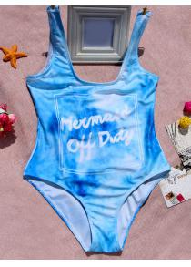 Letter Print Tie Dye One Piece Swimwear