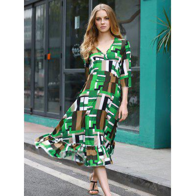 Elegant Patchwork Pattern Swingy Women's Midi Dress